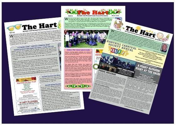 Various front covers of the Hart newsletter on a dark blue background